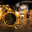 Card with vintage clock — Stock Photo #58050743