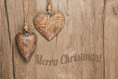 Wooden heart decorations — Stock Photo