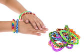 Loom rubber bracelets — Stock Photo