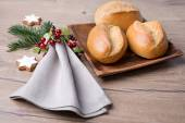 Bread rolls with Christmas decorations — Stock Photo