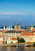 Roofs of Old Prague with famous towers — Stock Photo