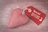 Valentine's tags and stuffed heart — Foto de Stock