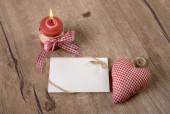 Burning candle and cotton heart — Φωτογραφία Αρχείου