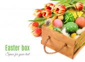 Easter box with orange tulips — Stock Photo