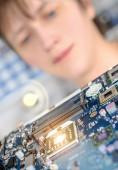 Closeup on motherboard observed — Foto de Stock