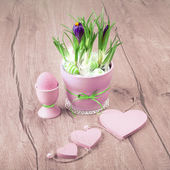 Flowers and pink hearts — Foto de Stock