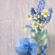 Easter egg and spring flowers — Stock Photo #68348381