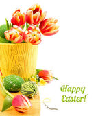 Easter border with tulips and eggs — Stock Photo