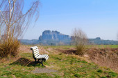 Bench for tourists in Bastei National Park — Stock Photo