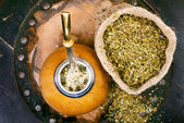 Yerba mate in a gourd and bag of herbc — Foto Stock