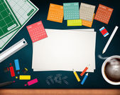 Workplace with calendar and a cup coffee on chalkboard close-up — Stock Photo