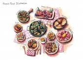 French food illustration — Stock Photo