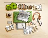 Working table top view illustration — Stock Photo