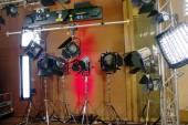 Studio lights and camera for media — Stock Photo