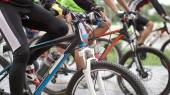 Abstract biking tournament at start line, shot of a group of rac — Stock Photo