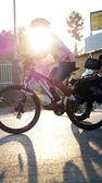 Biking abstract in the morning sun — Stock Photo