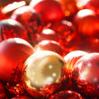 Red and gold christmas ornaments background — Stock Photo #59696819