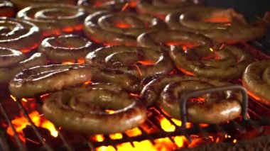 Sausage BBQ with fire and charcoal — Stock Video