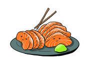Salmon sashimi cartoon — Stock Photo