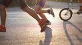 Biking and running in the morning sun — Stock Photo