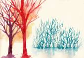 Colorful trees in winter background — Stock Photo