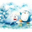 Happy penguin and seal in Northpole water color illustration — Photo #64760311