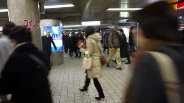 Commuters walking at subway transit station — Stock Video