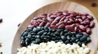 Beans red black and job's tear multi-grain protein food — Stock Video