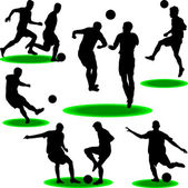 Soccer player silhouette vector — Stock Vector