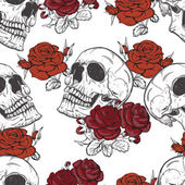 Roses and skulls — Stock Vector