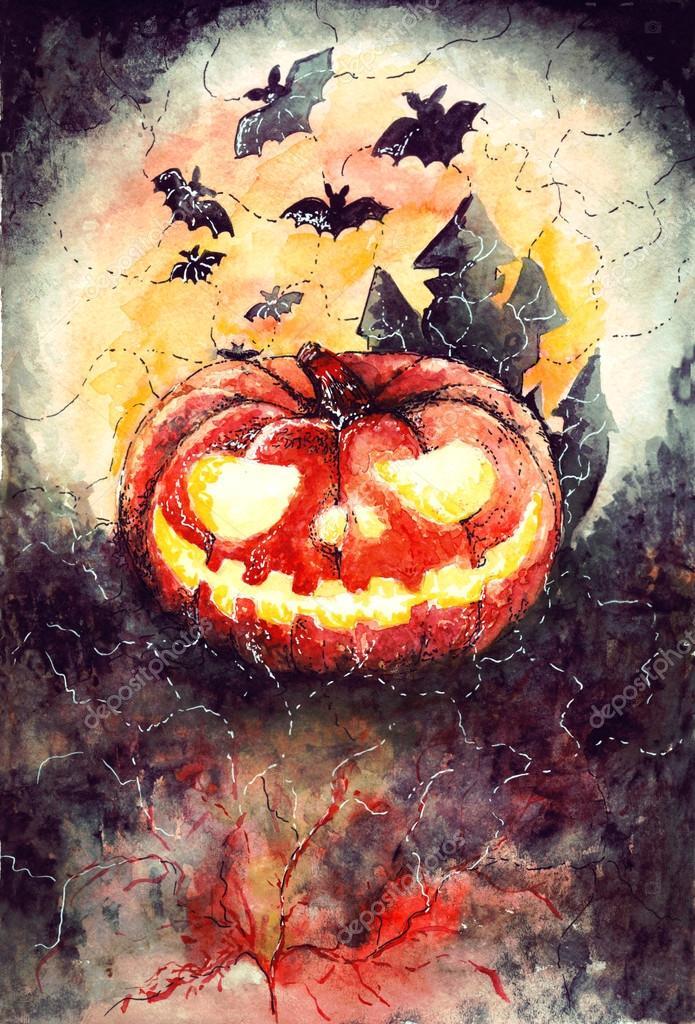 Хэллоуин рисунок акварелью