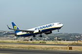 A plane from the airline Ryanair takes off in Greece. Ryanair i — Stock Photo