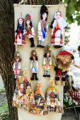 Stuffed souvenir dolls at flea market in Chisinau, Moldova. At t — Stock Photo