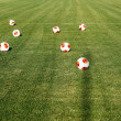 Europa League balls on the field during the training of PAOK in — Stock Photo #52565289