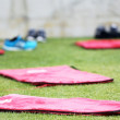 Mattresses on the field during the training of PAOK in Thessalon — Stock Photo #52565443