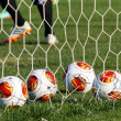Europa League balls in net during Paok training in Thessaloniki, — Stock Photo #52567081