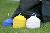 Soccer (football) training equipment — Stock Photo