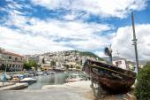 The traditional Greek fishing boats in the harbor of Kavala in G — Stock Photo