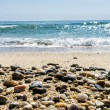 Wave of the sea on the sand beach with sea stones in the front — Stock Photo #53915601