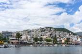 Residential district and harbor in Kavala, Greece. The land are — Stock Photo