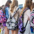Students with their backpacks. First Day of school for the stude — Stock Photo #53932415