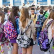 Students with their backpacks. First Day of school for the stude — Stock Photo #53932809