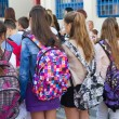 Students with their backpacks. First Day of school for the stude — Stock Photo #53933117
