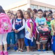 Students with their backpacks. First Day of school for the stude — Stock Photo #53934435