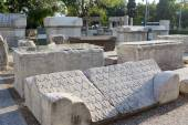 The parts of the funerary monuments with inscriptions, pediments — Stock Photo