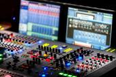 A mixing console, or audio mixer,shallow dof — Stock Photo