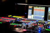 A mixing console, or audio mixer,shallow dof — Foto Stock