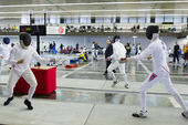Young athletes competing during the World Youth Fencing Champion — Stock Photo