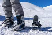 Close up of ski shoes on a skier — Stock Photo