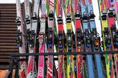 Ski equipment at Falakro ski center  in Greece. Visitors can ren — Stock Photo